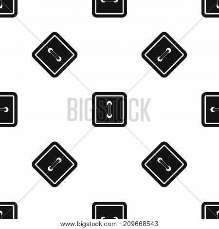 Sewn square button pattern repeat seamless in black color for any design. Vector geometric illustration