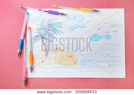 Child's drawing of island with palm trees on color background