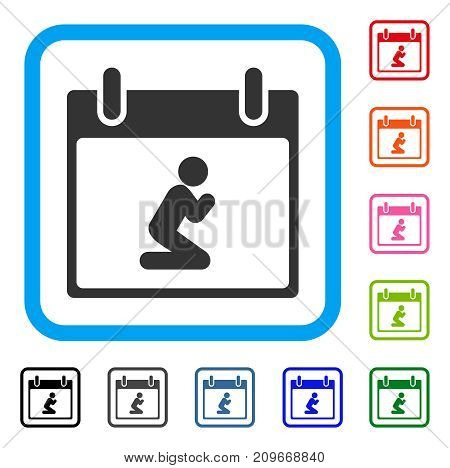 Pray Person Calendar Day icon. Flat grey iconic symbol in a light blue rounded rectangle. Black, gray, green, blue, red, orange color variants of Pray Person Calendar Day vector.