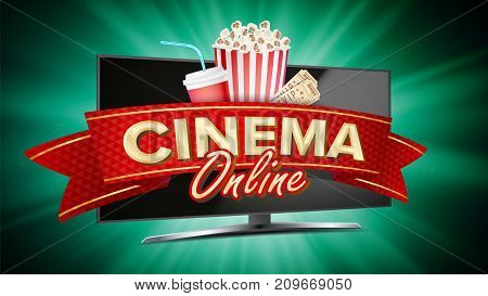 Online Cinema Vector. Banner With Computer Monitor. Popcorn, 3D Glasses, Film-strip Cinematography. Online Movie Banner Sign. Bright Poster. Illustration