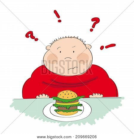 Fat man with hamburger sitting in fastfood and trying to decide whether to eat it or not - original hand drawn illustration