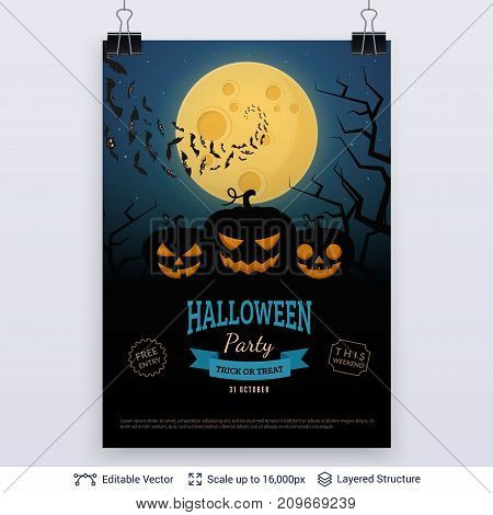 Burning lanterns and full Moon. Vector layered background with text block.