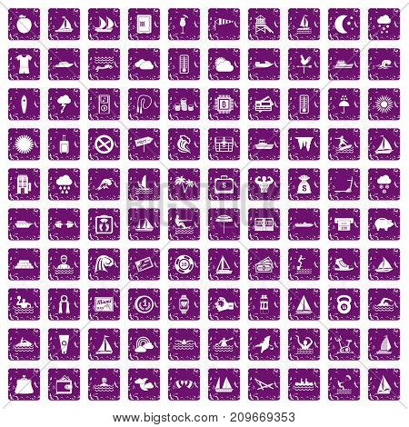 100 water sport icons set in grunge style purple color isolated on white background vector illustration