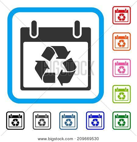 Recycle Calendar Day icon. Flat grey iconic symbol in a light blue rounded rectangle. Black, gray, green, blue, red, orange color additional versions of Recycle Calendar Day vector.