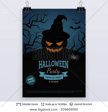 Jack pumpkin in witch hat. Vector layered background with text block.