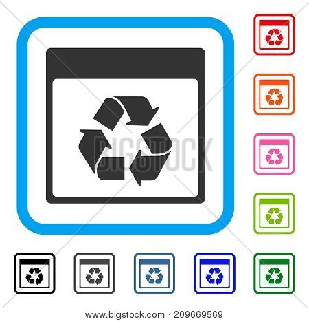 Recycle Calendar Page icon. Flat grey iconic symbol inside a light blue rounded square. Black, gray, green, blue, red, orange color additional versions of Recycle Calendar Page vector.