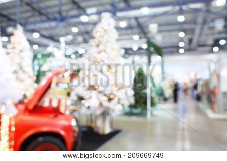 Blurred view of beautiful Christmas decoration in shopping center