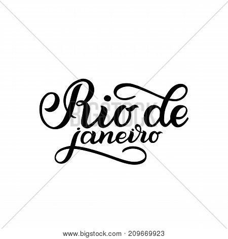 City logo isolated on white. Black label or logotype. Vintage badge calligraphy in grunge style. Great for t-shirts or poster, Rio de Janeiro, Brazil