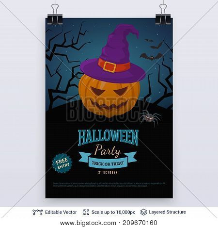 Carved pumpkin in witch hat. Vector layered background with text block.