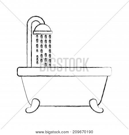 bathroom bathtub shower water curtain interior vector illustration