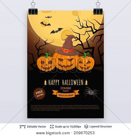 Carved pumpkins and full Moon. Vector layered background with text block.