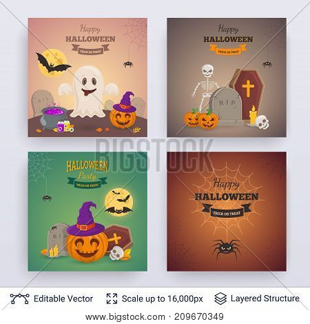 Cute ghosts and pumpkins. Vector layered backgrounds with text block.