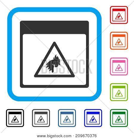 Rooster Danger Calendar Page icon. Flat grey pictogram symbol inside a light blue rounded rectangle. Black, gray, green, blue, red, orange color versions of Rooster Danger Calendar Page vector.