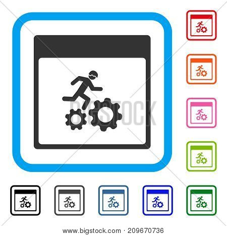 Running Worker Calendar Page icon. Flat gray pictogram symbol inside a light blue rounded rectangle. Black, gray, green, blue, red, orange color versions of Running Worker Calendar Page vector.