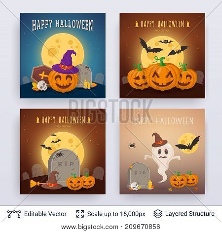 Cute pumpkins and graves. Vector layered backgrounds with text block.