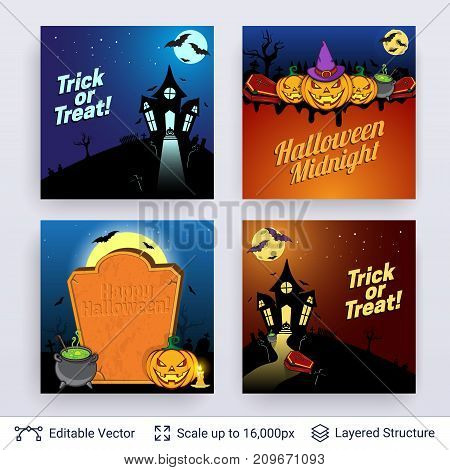 Cartoon castle, jack lanterns and grave. Vector layered backgrounds with text block.