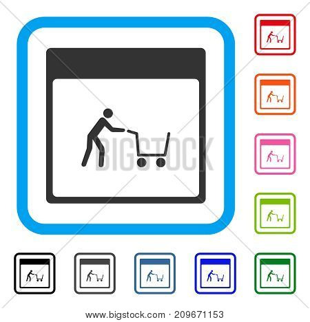 Shopping Cart Calendar Page icon. Flat grey iconic symbol in a light blue rounded rectangle. Black, gray, green, blue, red, orange color variants of Shopping Cart Calendar Page vector.