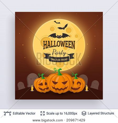 Carved jack lanterns and full Moon. Vector layered background with text block.