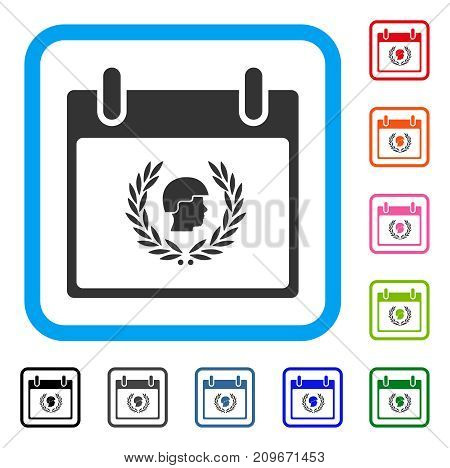 Soldier Laurel Wreath Calendar Day icon. Flat gray iconic symbol inside a light blue rounded rectangle. Black, gray, green, blue, red,