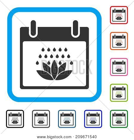 Spa Shower Calendar Day icon. Flat grey iconic symbol in a light blue rounded frame. Black, gray, green, blue, red, orange color additional versions of Spa Shower Calendar Day vector.