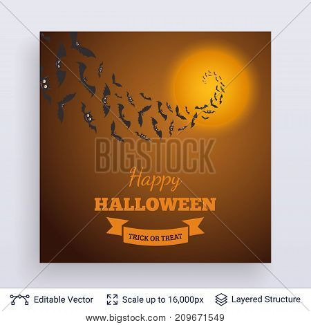 Bats flying in perspective to full Moon. Vector layered background with text block.