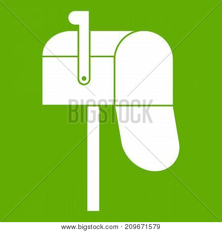 Open mailbox icon white isolated on green background. Vector illustration