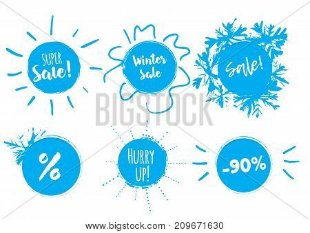 Winter sale banner with stains and snowflakes. Season clearence discount stamp.