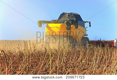 Yellow Harvester Working On A Wheat Field. Agronomy, The Concept Of Farming.