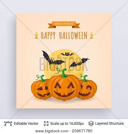 Cute lantern pumpkins and bats. Vector layered background with text block.