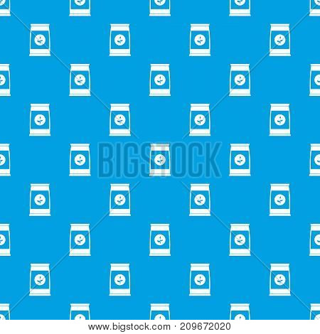 Flower seeds in package pattern repeat seamless in blue color for any design. Vector geometric illustration
