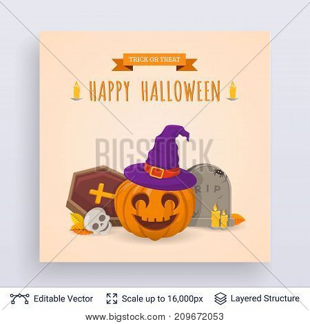 Cute pumpkin in witch hat. Vector layered background with text block.