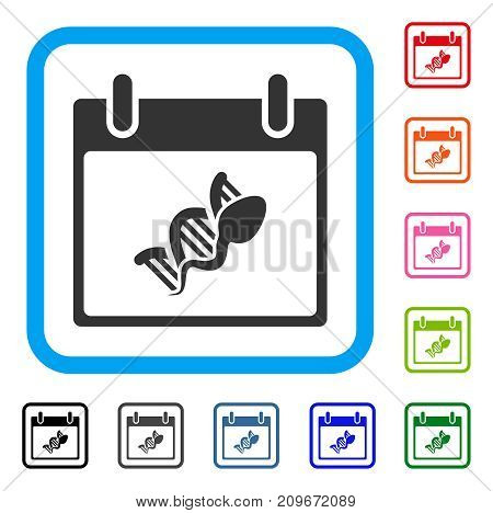 Sperm DNA Replication Calendar Day icon. Flat grey pictogram symbol in a light blue rounded rectangular frame. Black, gray, green, blue, red,