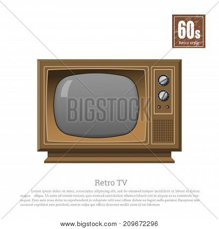 Retro TV in realistic style on white background. Old television tuner. Technologies of 60s. Vintage brown analog display. Vector illustration