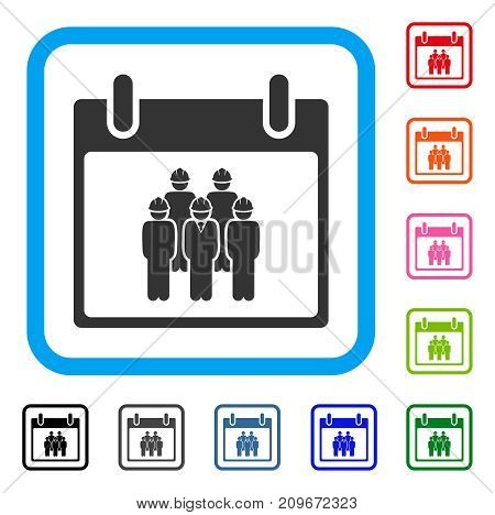 Staff Calendar Day icon. Flat grey iconic symbol in a light blue rounded rectangular frame. Black, gray, green, blue, red, orange color variants of Staff Calendar Day vector.