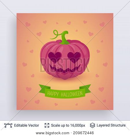 Inlove carved pink pumpkin. Cute romantic Halloween concept. Vector layered background with text block.