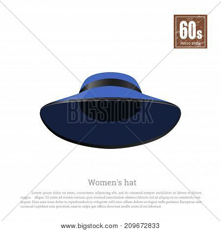 Retro hat in realistic style on white background. Old fashion. 60s vogue. Vintage blue cap icon. Vector illustration