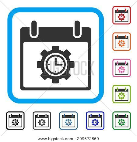 Time Gear Calendar Day icon. Flat grey iconic symbol inside a light blue rounded square. Black, gray, green, blue, red, orange color versions of Time Gear Calendar Day vector.