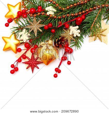 Christmas Background with Glass Ball Golden Stars Xmas Tree Branch and Red Berry. Christmas Decoration on White Background