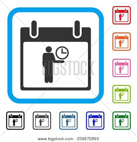 Time Manager Calendar Day icon. Flat grey pictogram symbol in a light blue rounded rectangle. Black, gray, green, blue, red, orange color additional versions of Time Manager Calendar Day vector.