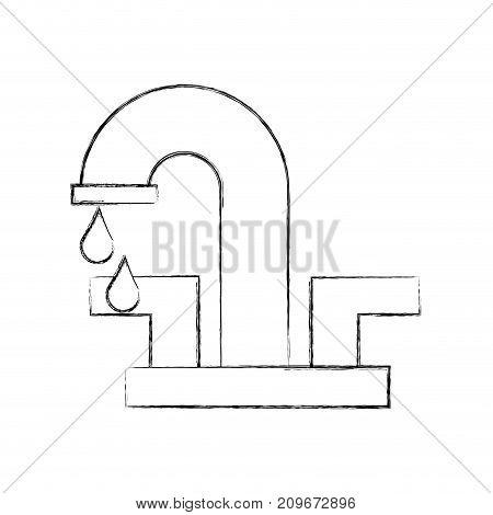 water faucet with drop bathroom icon vector illustration