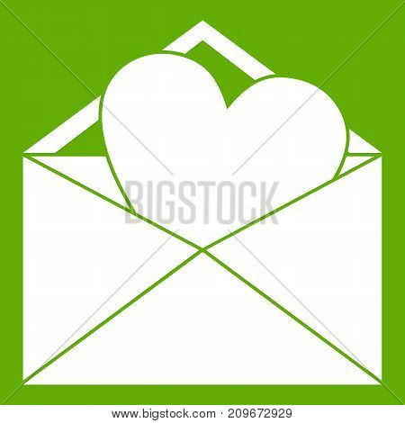 Open envelope with heart icon white isolated on green background. Vector illustration