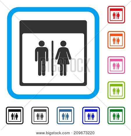 Toilet Persons Calendar Page icon. Flat gray pictogram symbol inside a light blue rounded frame. Black, gray, green, blue, red, orange color variants of Toilet Persons Calendar Page vector.