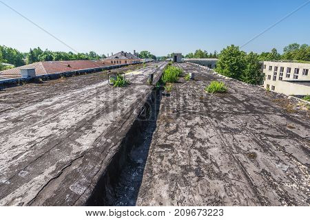 Roof of old building in complex of 19th century military fortress in Daugavpils Latvia