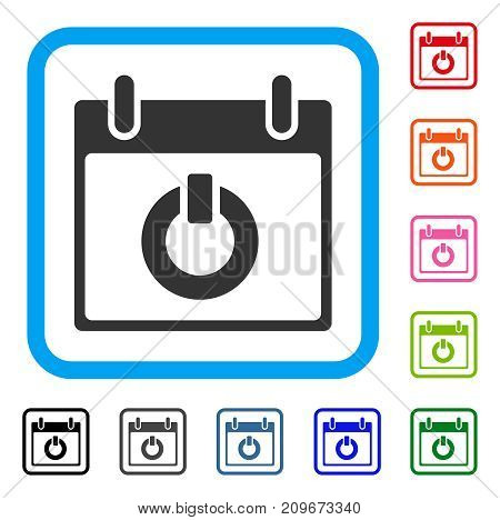 Turn On Calendar Day icon. Flat grey pictogram symbol in a light blue rounded squared frame. Black, gray, green, blue, red, orange color additional versions of Turn On Calendar Day vector.