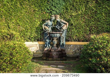 Fountain called Fauna and Flora in Crystal Palace Gardens public park in Porto Portugal