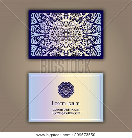 Luxury business cards with floral mandala ornament. Vintage decorative elements.