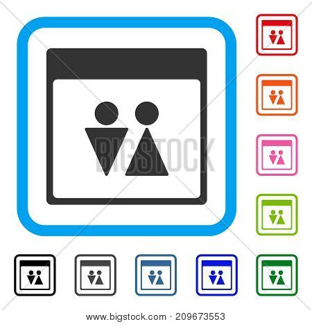 WC Persons Calendar Page icon. Flat grey iconic symbol in a light blue rounded squared frame. Black, gray, green, blue, red, orange color variants of WC Persons Calendar Page vector.