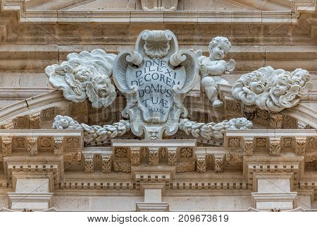 Details of Syracuse Cathedral on Ortygia isle Syracuse city Sicily Island in Italy