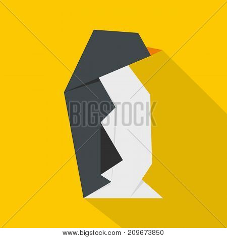 Origami penguin icon. Flat illustration of origami penguin vector icon for web
