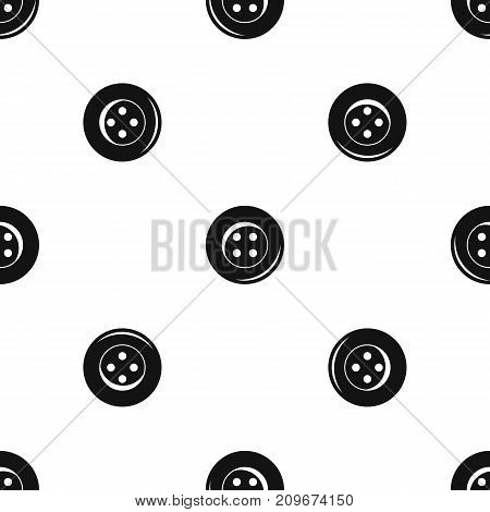 Button for sewing pattern repeat seamless in black color for any design. Vector geometric illustration